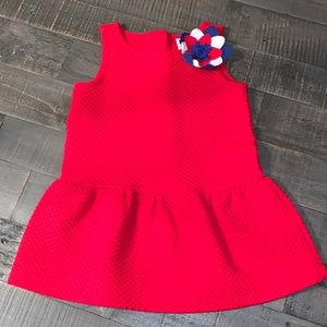 Janie And Jack Red Waffle Dress Size 18-24 Months